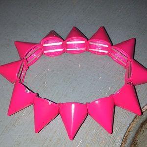 Hot pink elastic spike bracelet